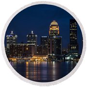 Louisville At Night Round Beach Towel