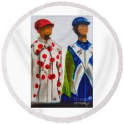 Kentucky Derby Jockey Mannequins Round Beach Towel