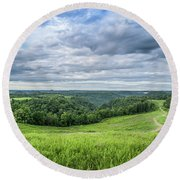 Kentucky Hills And Clouds Round Beach Towel