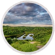 Kentucky Hills And Lake Round Beach Towel