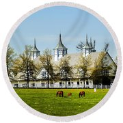 Revised Kentucky Horse Barn Hotel 2 Round Beach Towel