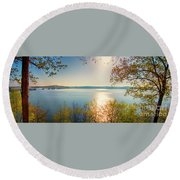 Round Beach Towel featuring the photograph Kentucky Lake by Ricky L Jones