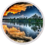 Round Beach Towel featuring the photograph Kentucky Sunset June 2016 by Sumoflam Photography