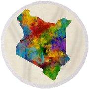 Round Beach Towel featuring the digital art Kenya Watercolor Map by Michael Tompsett