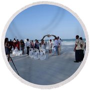 Kenya Wedding On Beach 2 With Maasai Round Beach Towel