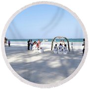Kenya Wedding On Beach Wide Scene Round Beach Towel