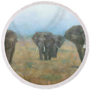 Kenyan Elephants Round Beach Towel