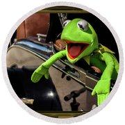 Kermit In Model T Round Beach Towel