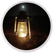 Kerosine Lantern In The Moonlight Round Beach Towel