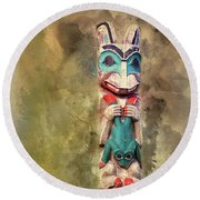 Ketchikan Alaska Totem Pole Round Beach Towel