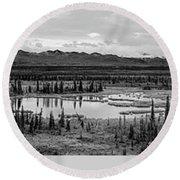 Kettle Pond And The Alaska Range Round Beach Towel