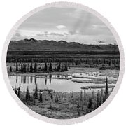 Kettle Pond And The Alaska Range Round Beach Towel