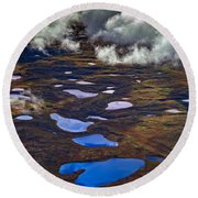 Kettle Ponds On The Tundra Round Beach Towel