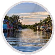 Key Largo Canal Round Beach Towel
