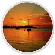 Key Largo Sunset Round Beach Towel