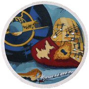 Round Beach Towel featuring the painting Key To The Heart by Erin Fickert-Rowland