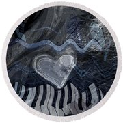 Round Beach Towel featuring the digital art Key Waves by Linda Sannuti