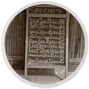 Round Beach Towel featuring the photograph Key West Depression Era Restaurant Specials by John Stephens