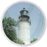 Key West Lighthouse Round Beach Towel by Bob George