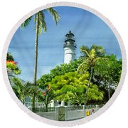 Key West Lighthouse Round Beach Towel