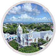 Round Beach Towel featuring the photograph Key West by Olga Hamilton