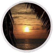 Key West Palm Sunset 2 Round Beach Towel
