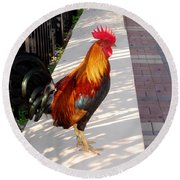 Key West Rooster Round Beach Towel