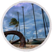 Key West - Sailboats On Beach 2 Round Beach Towel by Ron Grafe