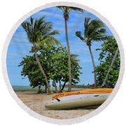 Key West - Sailboats On Beach 3 Round Beach Towel by Ron Grafe