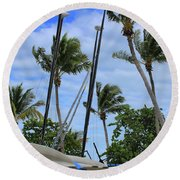 Key West - Sailboats On Beach Round Beach Towel by Ron Grafe