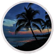 Key West Sunset No 1 Round Beach Towel by Ron Grafe