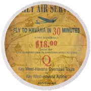 Key West To Havana Round Beach Towel