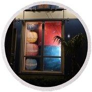 Key West Window Round Beach Towel by Expressionistart studio Priscilla Batzell