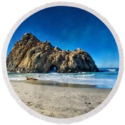 Round Beach Towel featuring the photograph Keyhole Rock At Pheiffer Beach #14 - Big Sur, Ca by Jennifer Rondinelli Reilly - Fine Art Photography