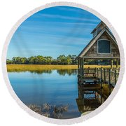 Kiawah Island Boathouse Panoramic Round Beach Towel