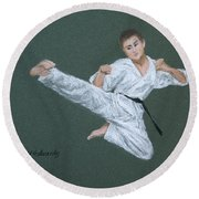 Kick Fighter Round Beach Towel by Marna Edwards Flavell