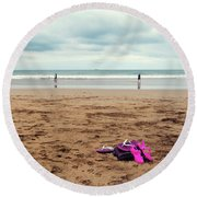 Round Beach Towel featuring the photograph Kick Off Your Shoes by Linda Lees