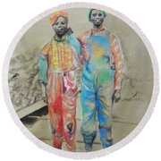 Kickin' It -- Black Children From 1930s Round Beach Towel