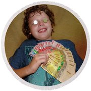 Kid With Money Round Beach Towel