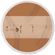 Kids At Play In Sepia Round Beach Towel