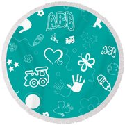 Kid's Playful Background Pattern And Shapes Round Beach Towel by Serena King