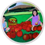 Kids Playing And Picking Apples Round Beach Towel