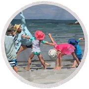 Kid's Yoga Class On Wingaersheek Beach Round Beach Towel