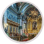 Kielce Cathedral In Poland Round Beach Towel by Brian Tarr