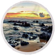 Kihei Sunset 2 Round Beach Towel