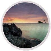 Kiholo Bay Sunset Round Beach Towel