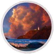 Kilauea Lighthouse - Hawaiian Cliffs Sunset Seascape And Clouds Round Beach Towel