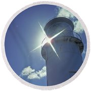 Round Beach Towel featuring the photograph Kilauea Lighthouse by Marie Hicks