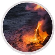 Kilauea Volcano Lava Flow Sea Entry 6 - The Big Island Hawaii Round Beach Towel