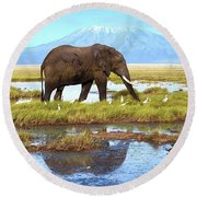 Kilimanjaro Mountain Round Beach Towel